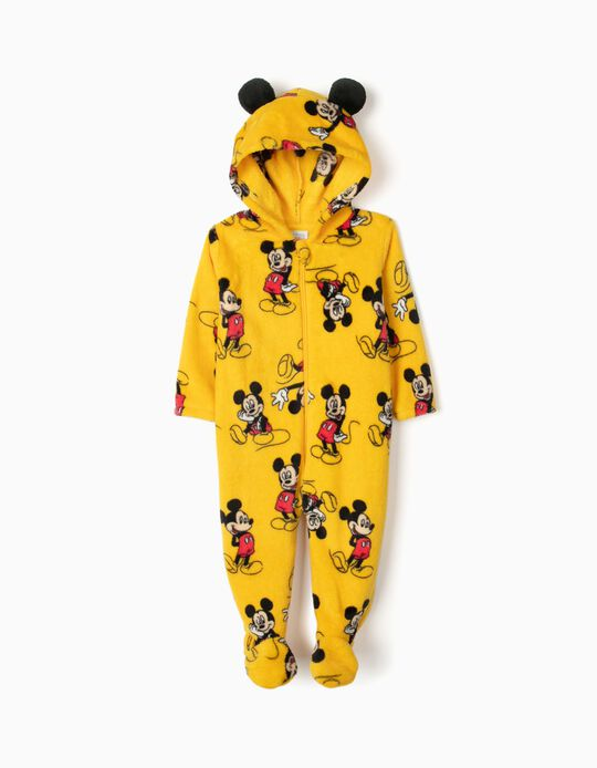 Hooded Onesie for Baby Boys 'Mickey Mouse', Yellow