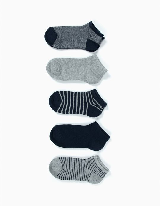 5-Pack Pairs of Ankle Socks for Boys, Grey and Dark Blue