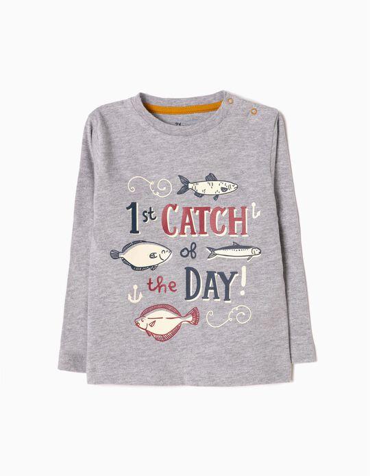 T-shirt Manga Comprida Fish Cinzenta