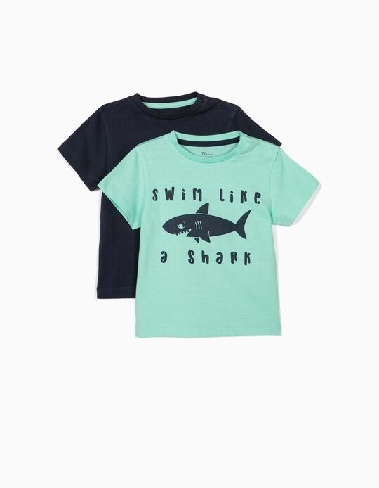 2 T-shirts para Bebé Menino 'Shark', Verde Água e Azul Escuro