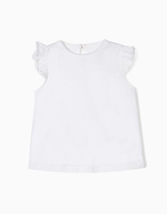 T-shirt para Bebé Menina com Folhos, Branco