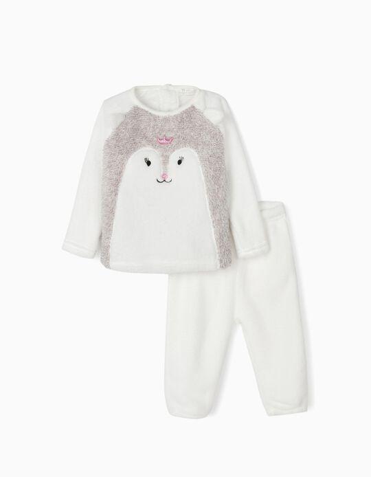 Pijama Coralina para Bebé Menina 'Queen', Cinza e Branco