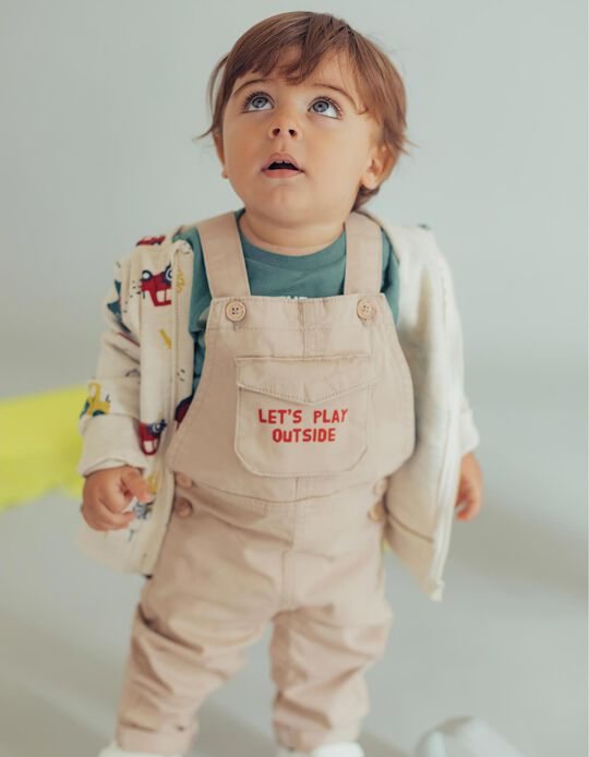 Dungarees for Baby Boys 'Let's Play', Beige