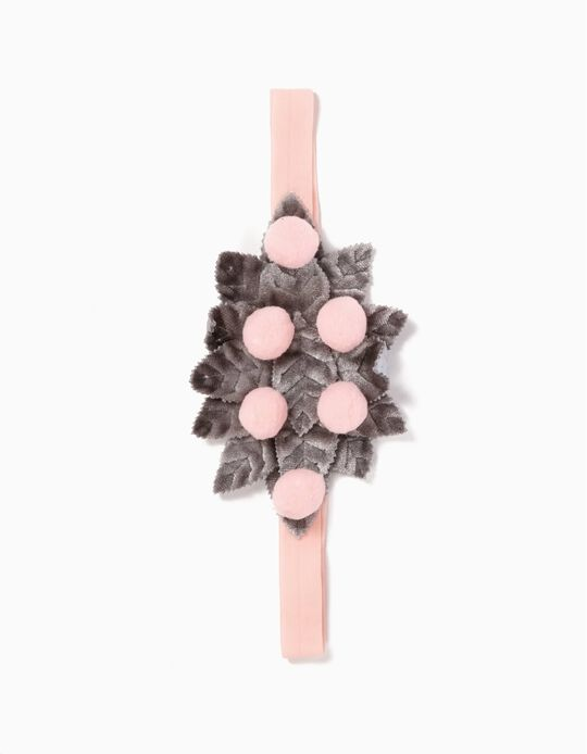 Elasticated Headband for Girls Pompons, Pink and Grey