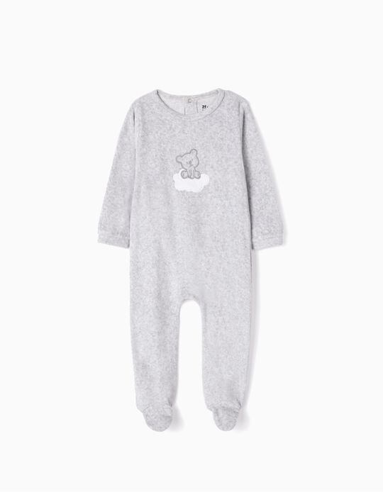 Velvet Sleepsuit for Babies 'Cute Bear', Grey
