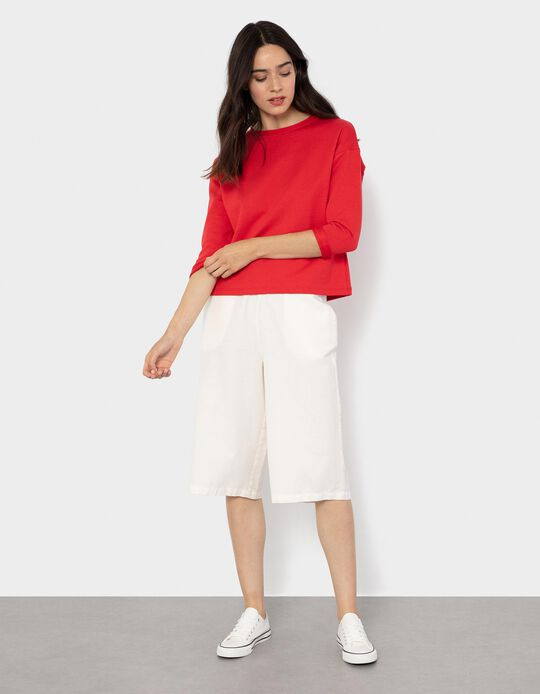 Cotton and Linen Culottes for Women, White