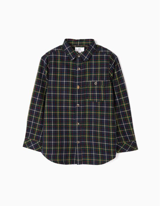 Camisa Manga Comprida Xadrez para Menino, Azul Escuro