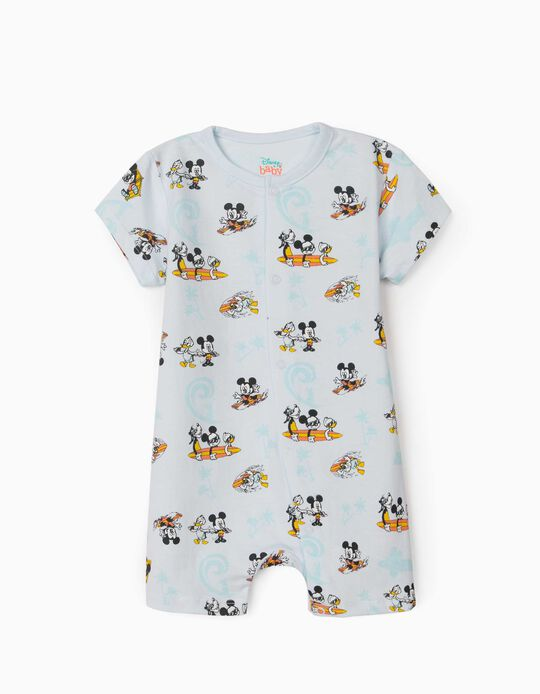 Babygrow Manga Curta para Bebé Menino 'Mickey & Friends', Azul Claro