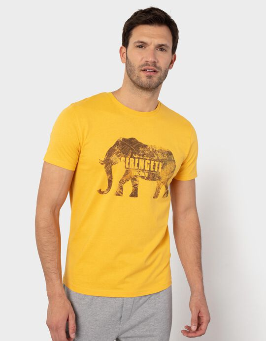 T SHIRT JERS PRINT S, YELLOW, M