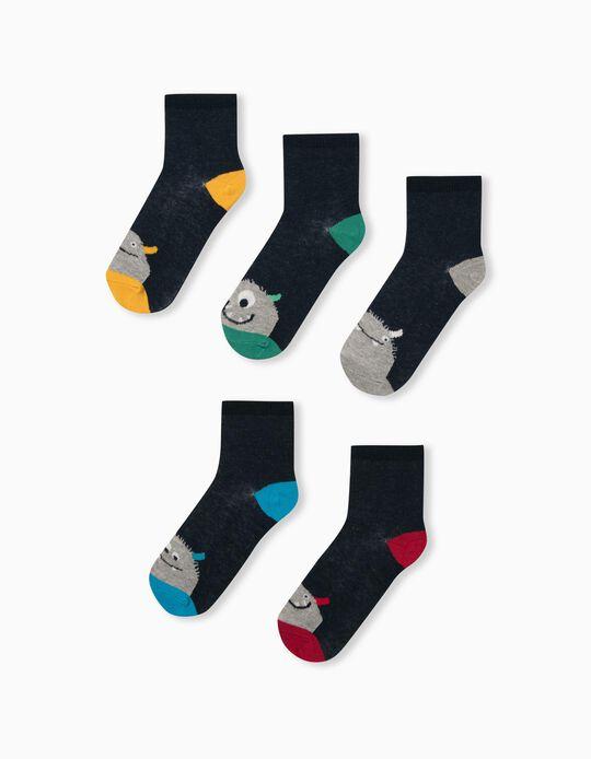 5 Pairs of Socks for Children, Dark Blue