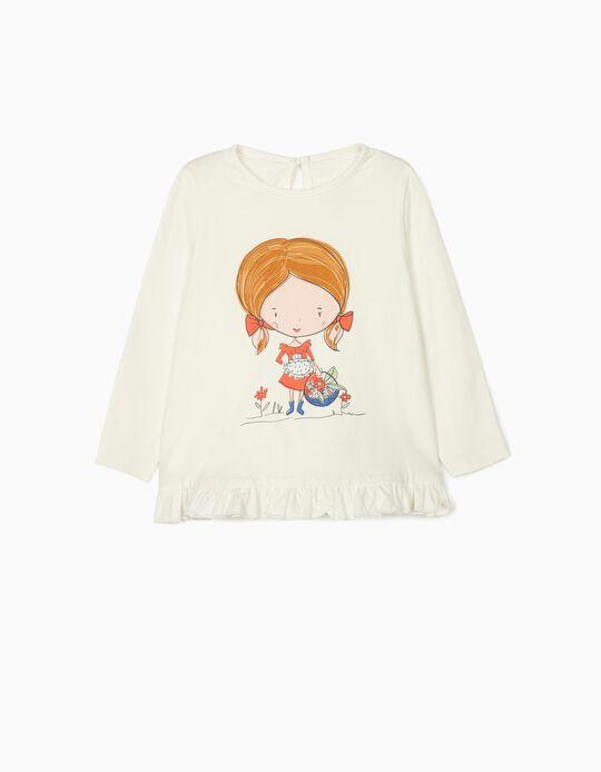 T-shirt Manga Comprida para Bebé Menina 'Flower Girl', Branco