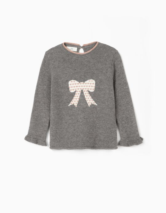 Jumper for Girls 'Bow', Grey
