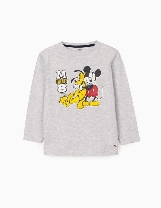 Long Sleeve Top for Boys, 'Mickey & Pluto', Grey