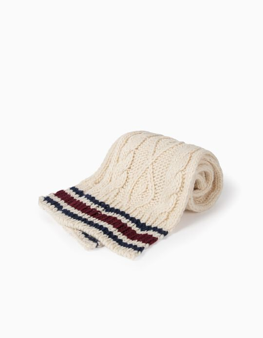 Knit Scarf for Boys, Beige