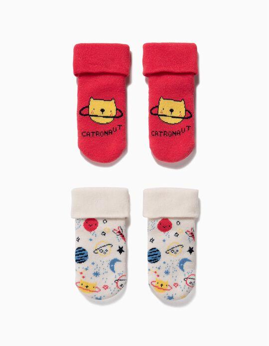 2-Pack Non-slip Socks for Baby Boys 'Catronaut', Red/White