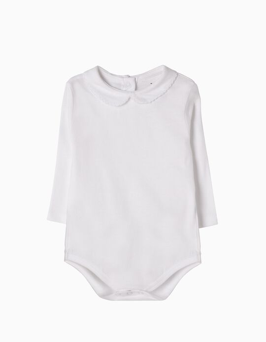 Long-Sleeved Bodysuit for Newborn Girls, White