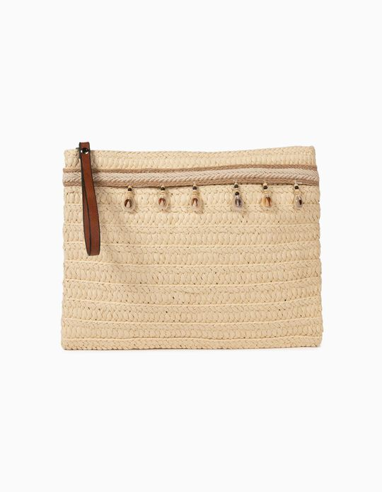 Straw Clutch with Beads