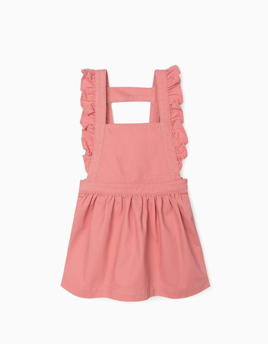 Twill Pinafore Dress for Girls, Pink