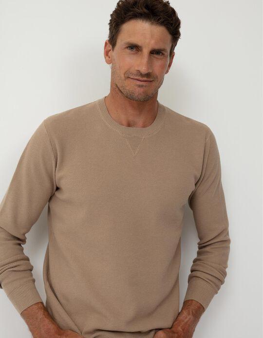 Textured Sweatshirt, Men, Beige
