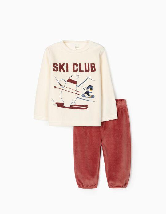 Velour Pyjamas for Baby Boys 'Ski Club', Beige/Burgundy