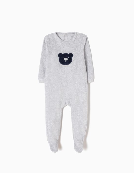 Velour All-In-One for Baby Boys 'Teddy Bear', Grey