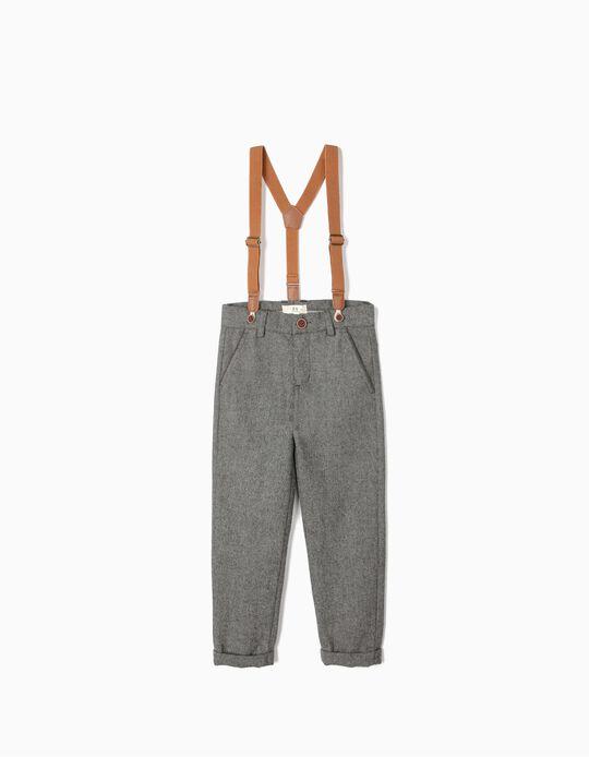 Calças Lã com Suspensórios para Menino 'B&S', Cinza