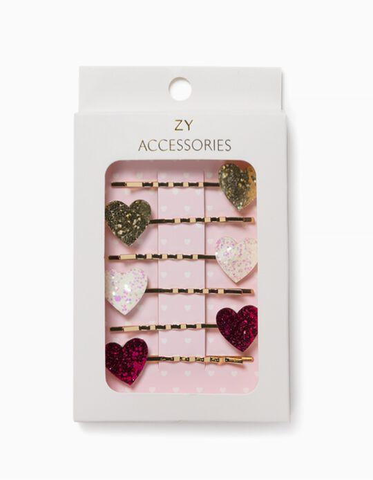 4 Travessões Cabelo para Menina 'Hearts', Dourado