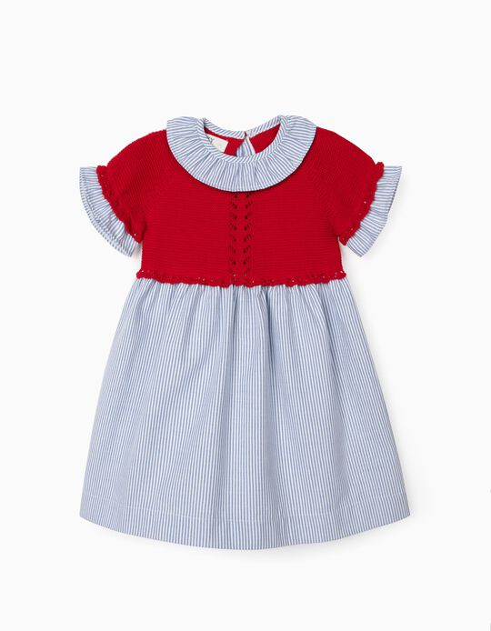 Vestido Combinado para Bebé Menina, Vermelho/Riscas