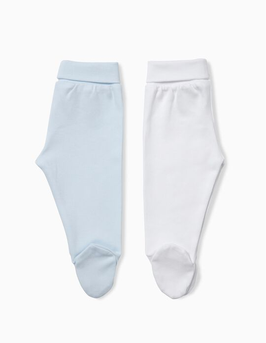 Pack of 2 Footed Trousers, Blue & White