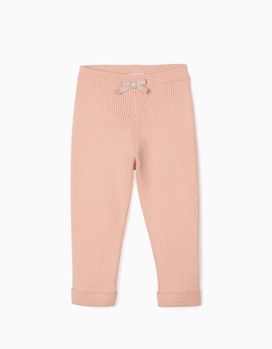 Rib Knit Trousers for Baby Girls, Pink