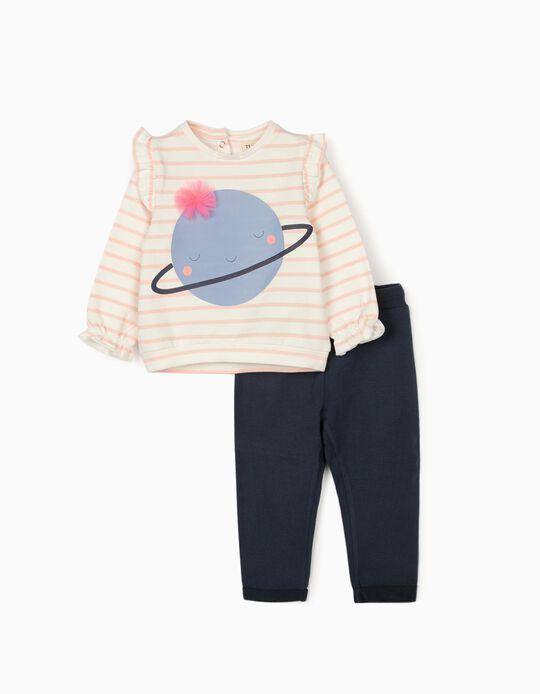 Fato de Treino para Bebé Menina 'Cute Saturn', Branco/Rosa/Azul Escuro