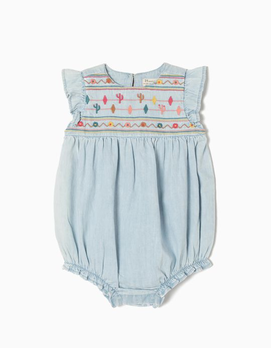 Denim Rompers with Embroideries & Ruffles