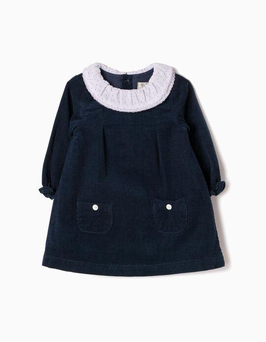 Vestido Bombazine Recém-Nascida Azul Escuro B&S