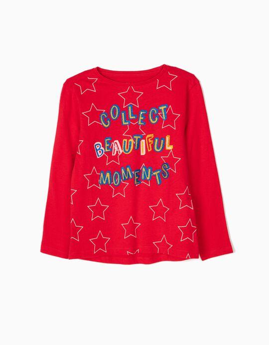 T-shirt Manga Comprida Glitter Text Vermelho