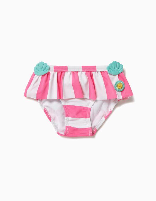 Cuecas de Banho para Bebé Menina 'Mermaid' Anti-UV 80, Branco e Rosa
