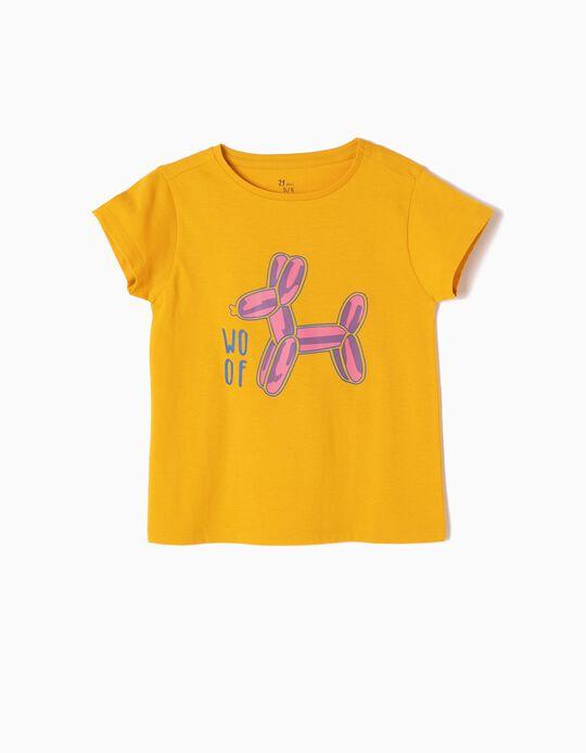 T-shirt Estampada Woof Amarela