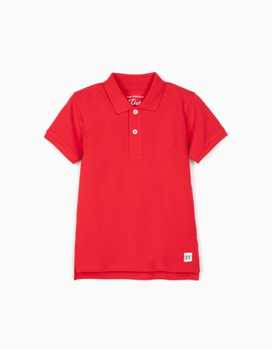 Short Sleeve Polo Shirt for Boys, Red