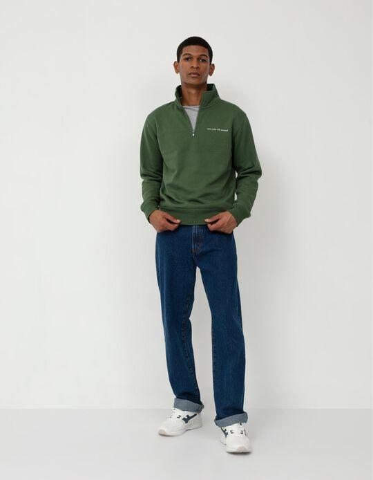 Sweatshirt Fecho na Gola, Homem, Verde