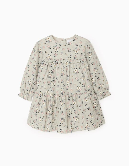 Floral Dress for Baby Girls, Grey