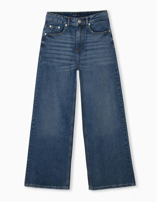 Wide Leg Jeans, Women, Blue