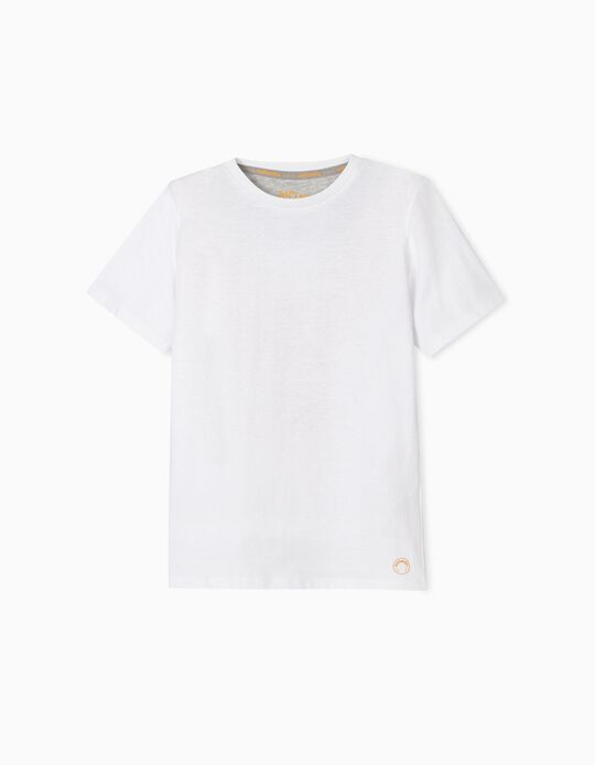 White Cotton T-Shirt, for Boys