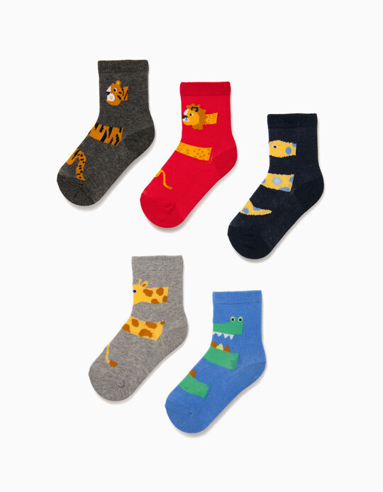 5 Pairs of Socks for Baby Boys, 'Animals', Multicoloured