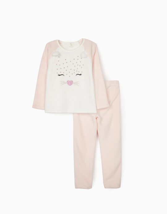 Minky Fabric Pyjamas for Girls 'Cute Leopard', White/Pink
