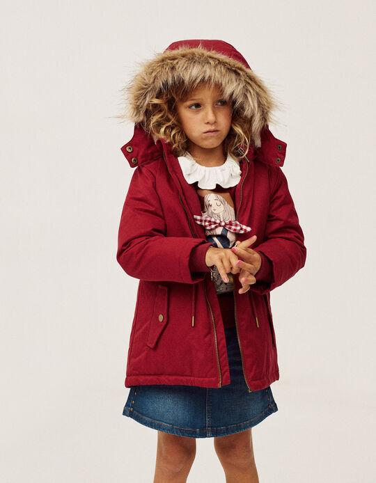Hooded Parka for Girls, Burgundy