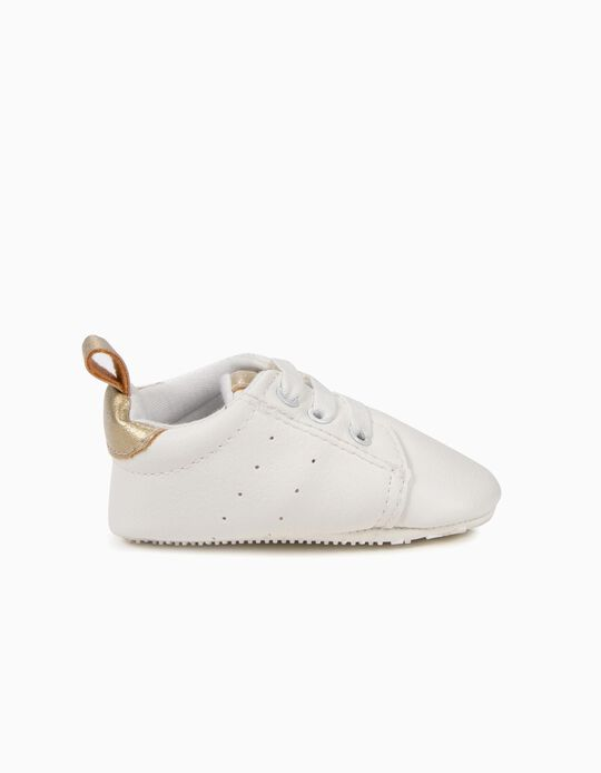 Sneakers for Newborn Girls with Elastic Shoelaces, White and Gold