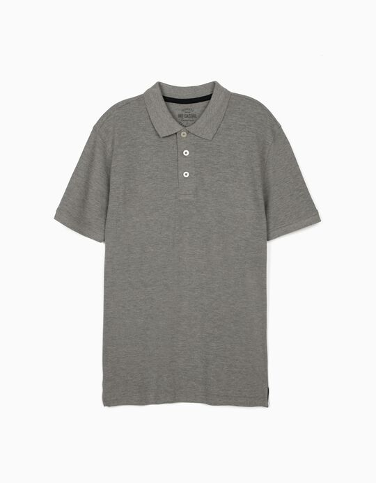 Piqué Polo Shirt, Grey