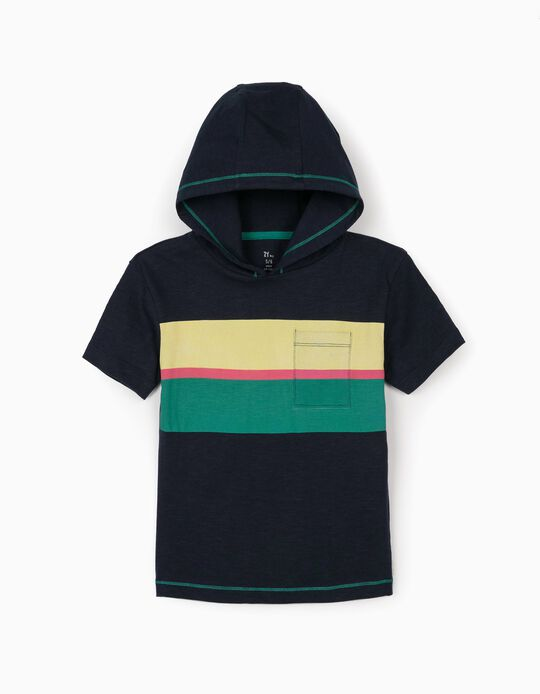 Hooded T-shirt for Boys, Dark Blue