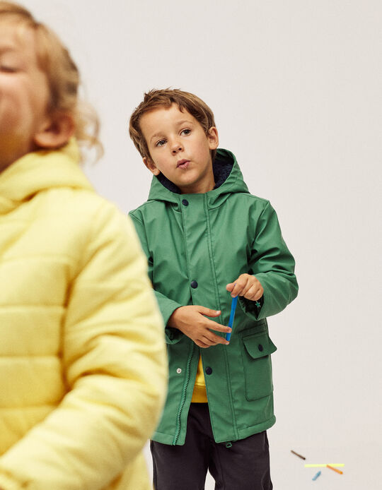 Hooded Rubber Parka for Boys, Green