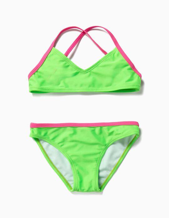 Biquíni para Menina Bicolor, Verde e Rosa
