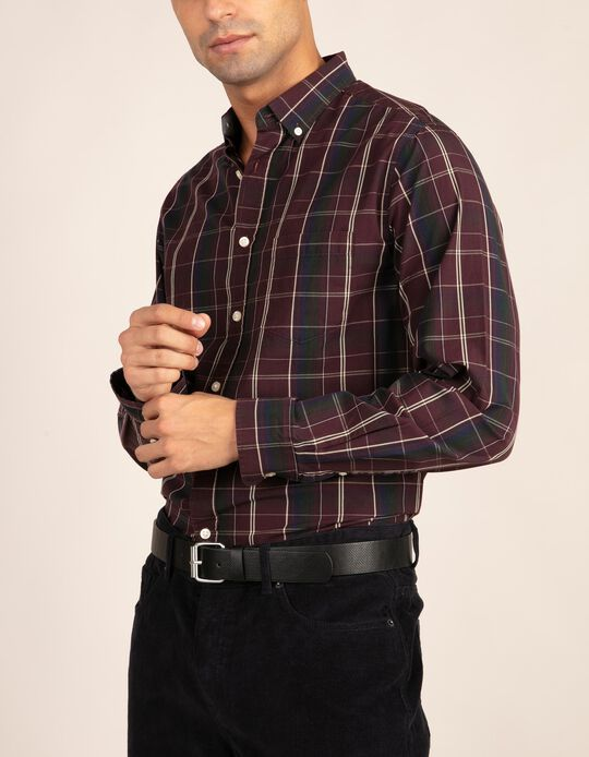 Camisa casual regular fit em tartan
